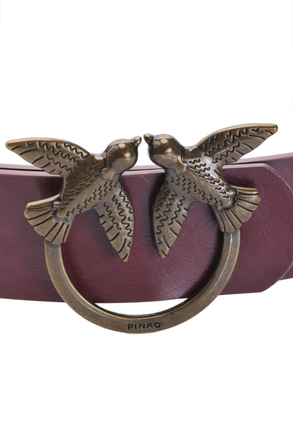 Cinturón de piel con hebilla Love Birds