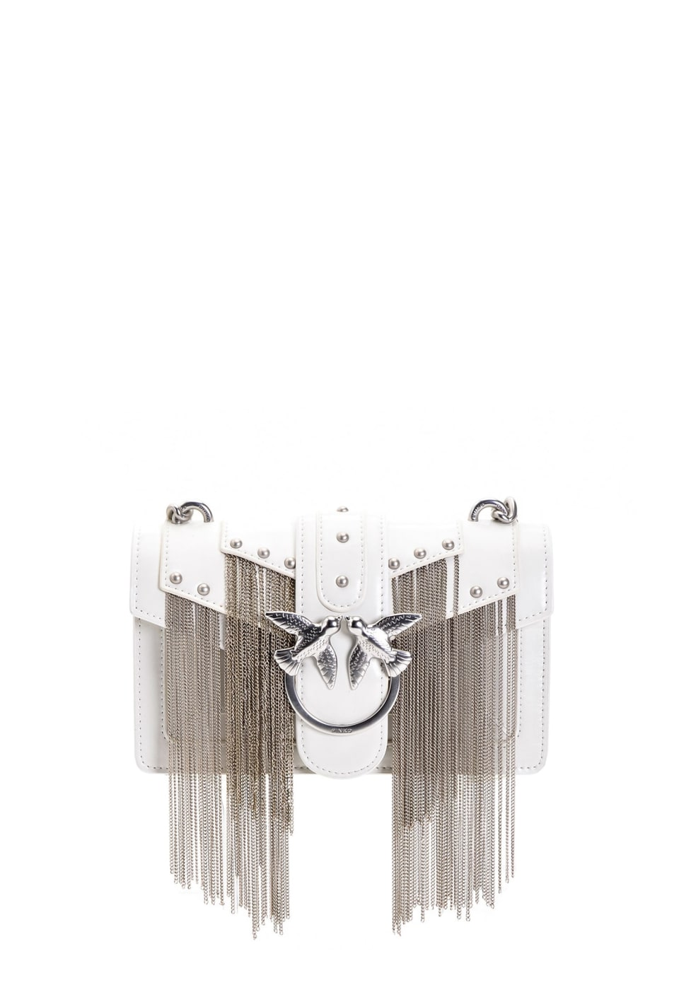 Mini Love Bag Metal Fringes in pelle
