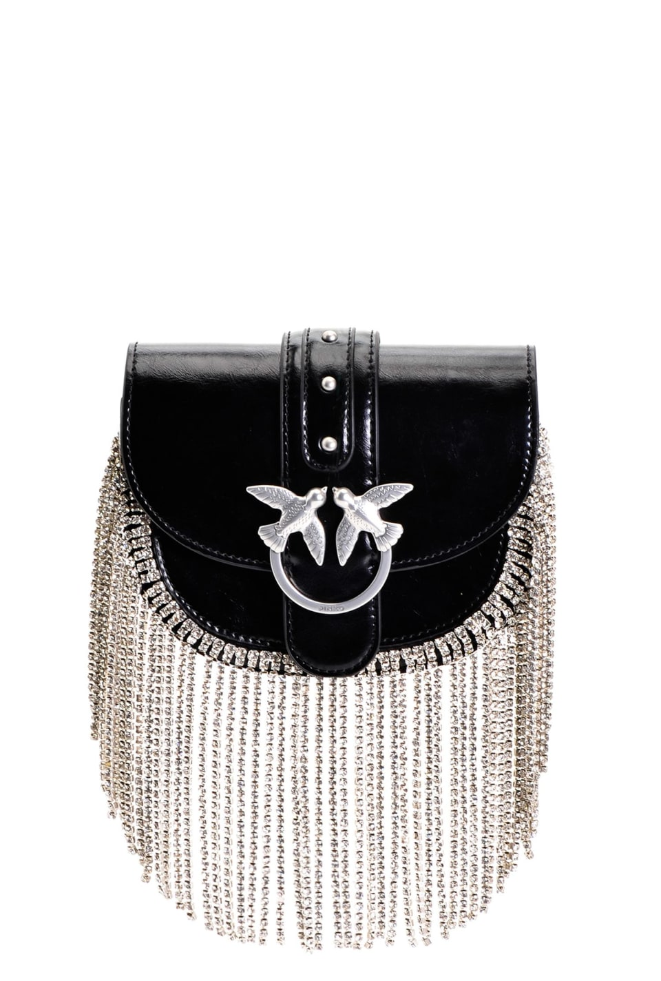 Baby Go-Round Bag Strass Fringes in leather - Pinko