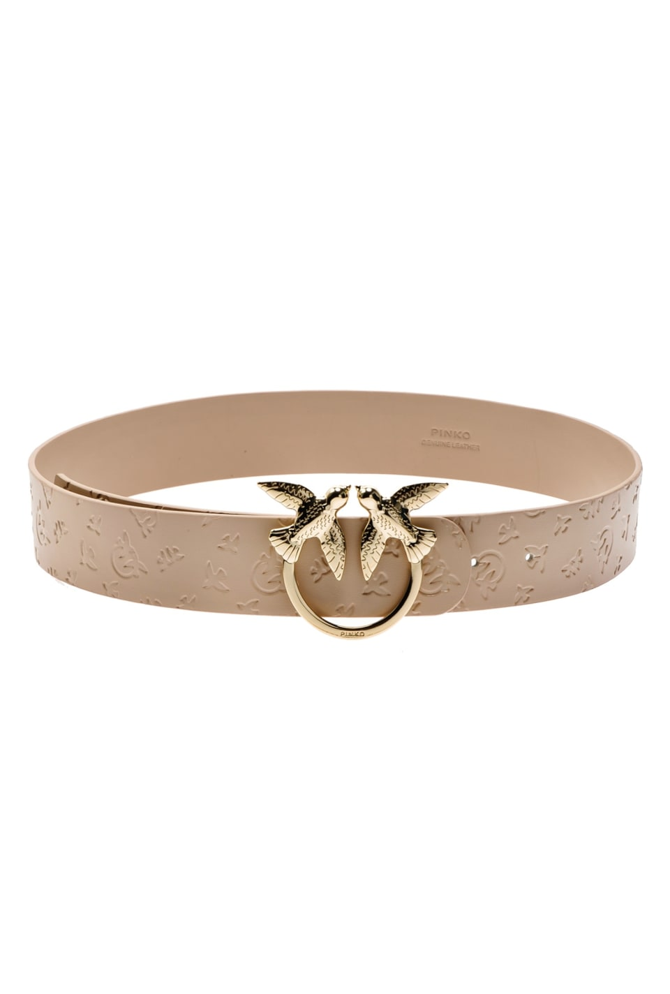 Monogram leather belt with Love Birds buckle