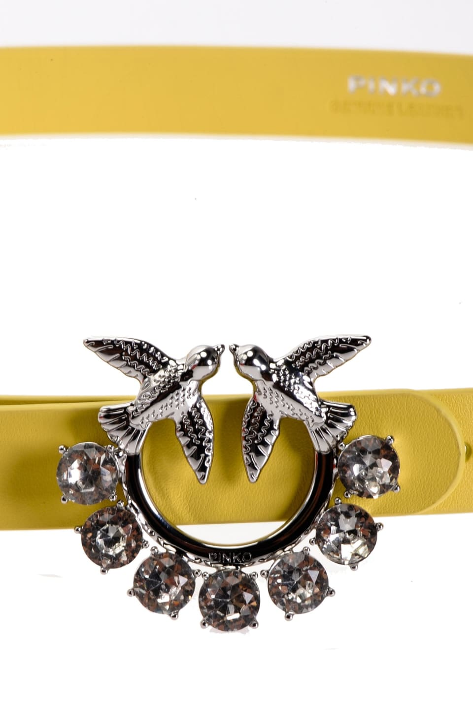 Narrow belt with jewel Love Birds buckle