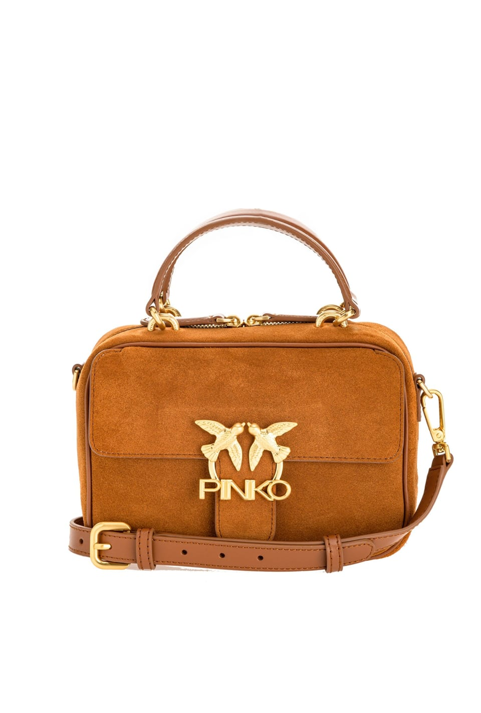 Mini Square Bag Seventies in suede and leather - Pinko