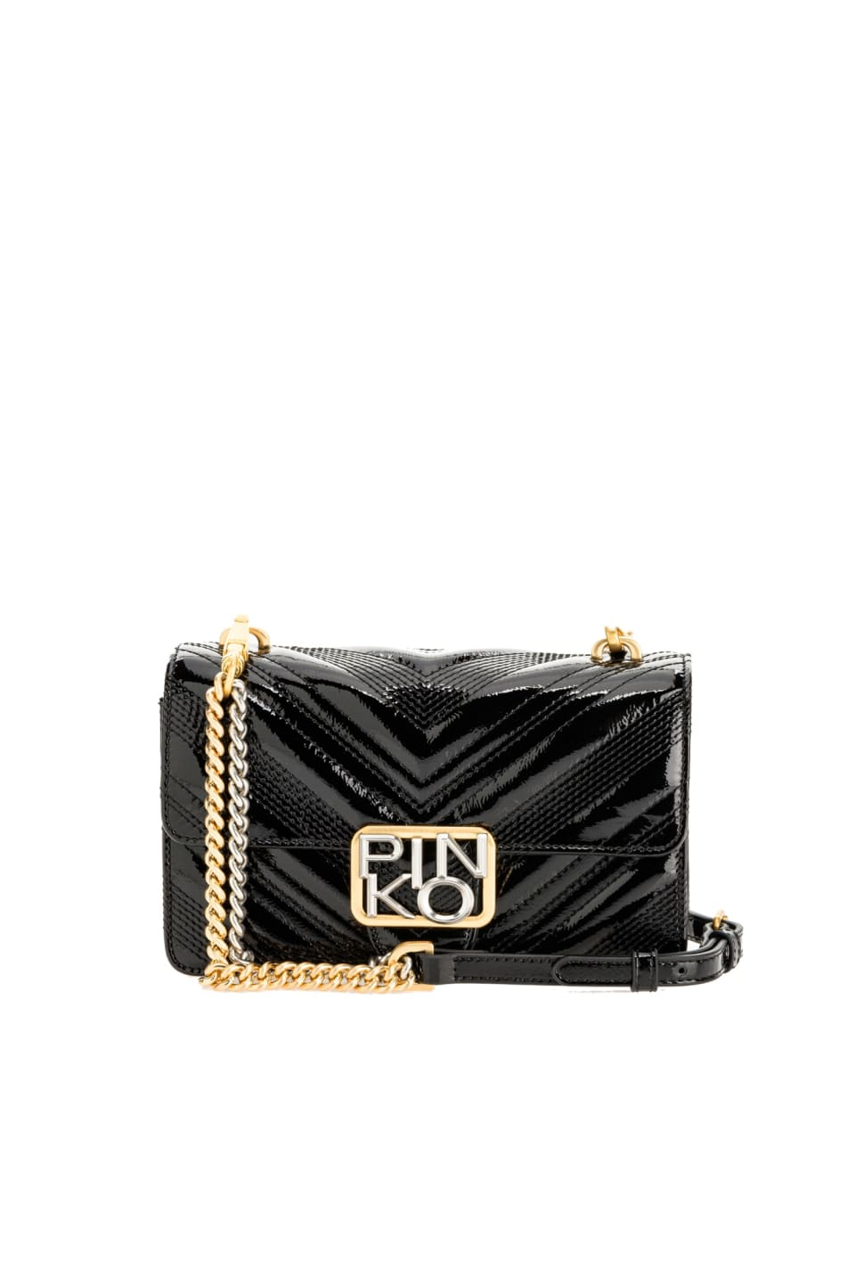 Mini Logo Bag Icon Polish in patent leather - Pinko