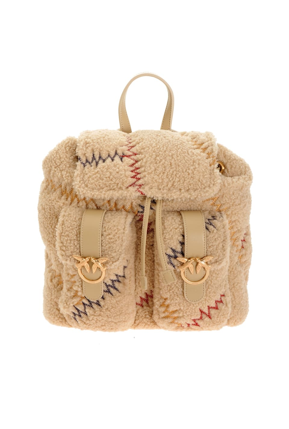 Mini Backpack Furry in faux fur con ricamo - Pinko