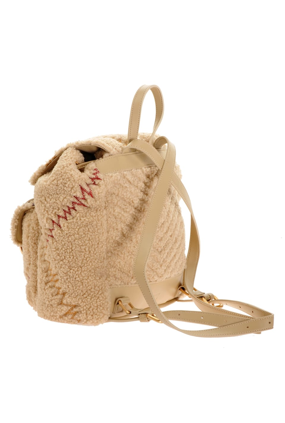 Mini Backpack Furry in faux fur with embroidery - Pinko