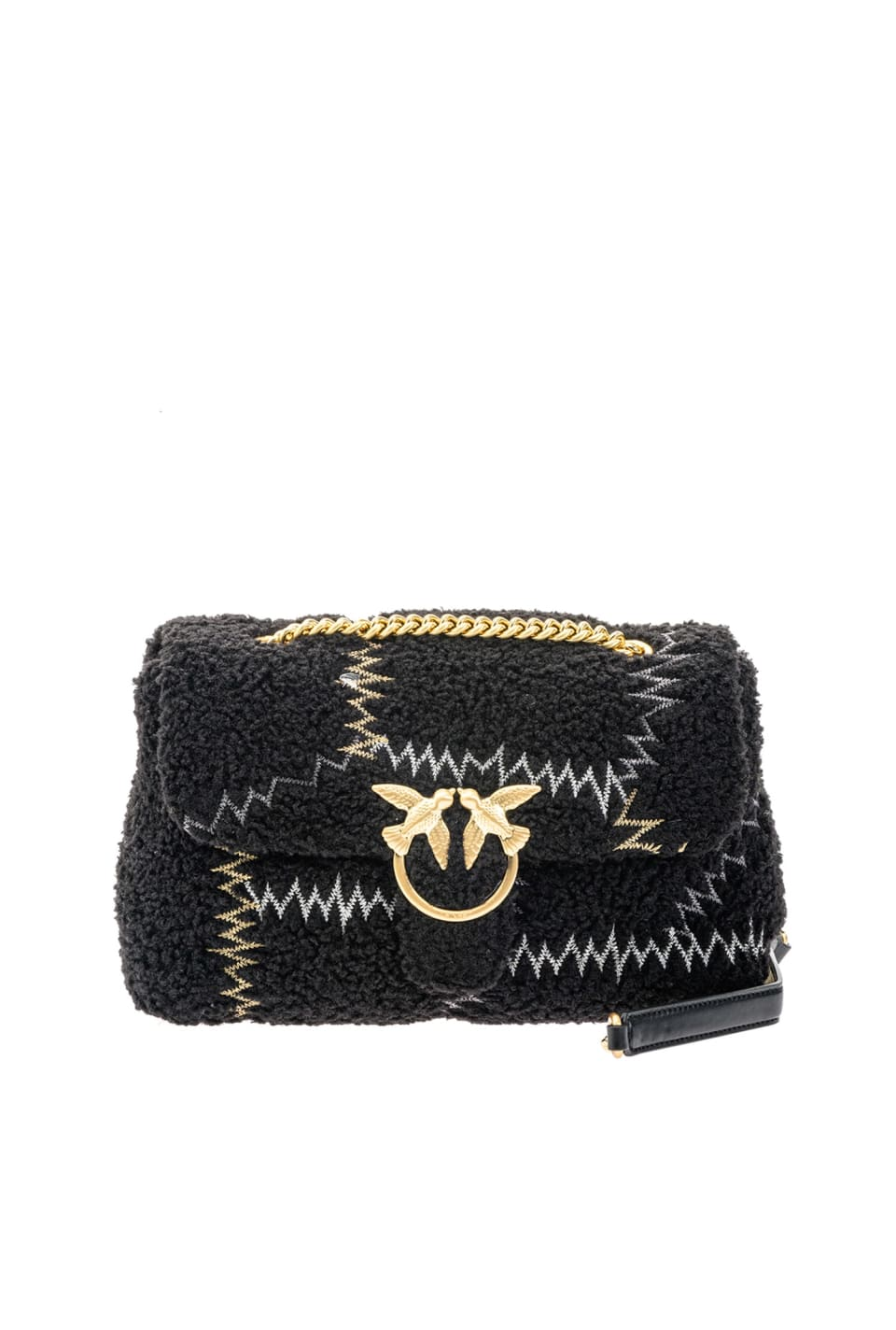 Classic Love Bag Puff Furry in faux fur with embroidery - Pinko