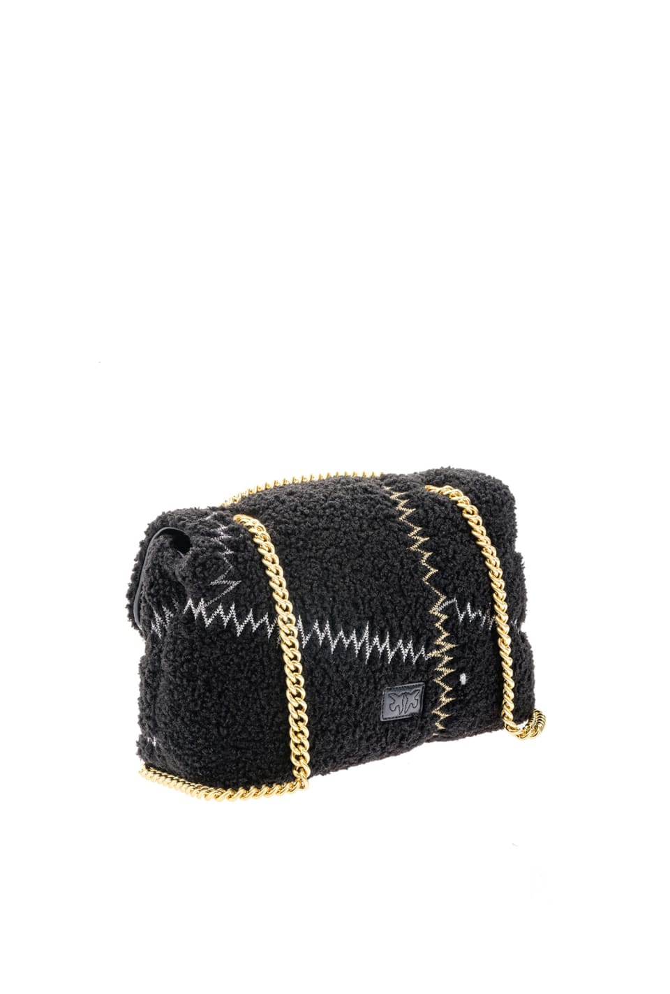 Classic Love Bag Puff Furry in faux fur con ricamo - Pinko