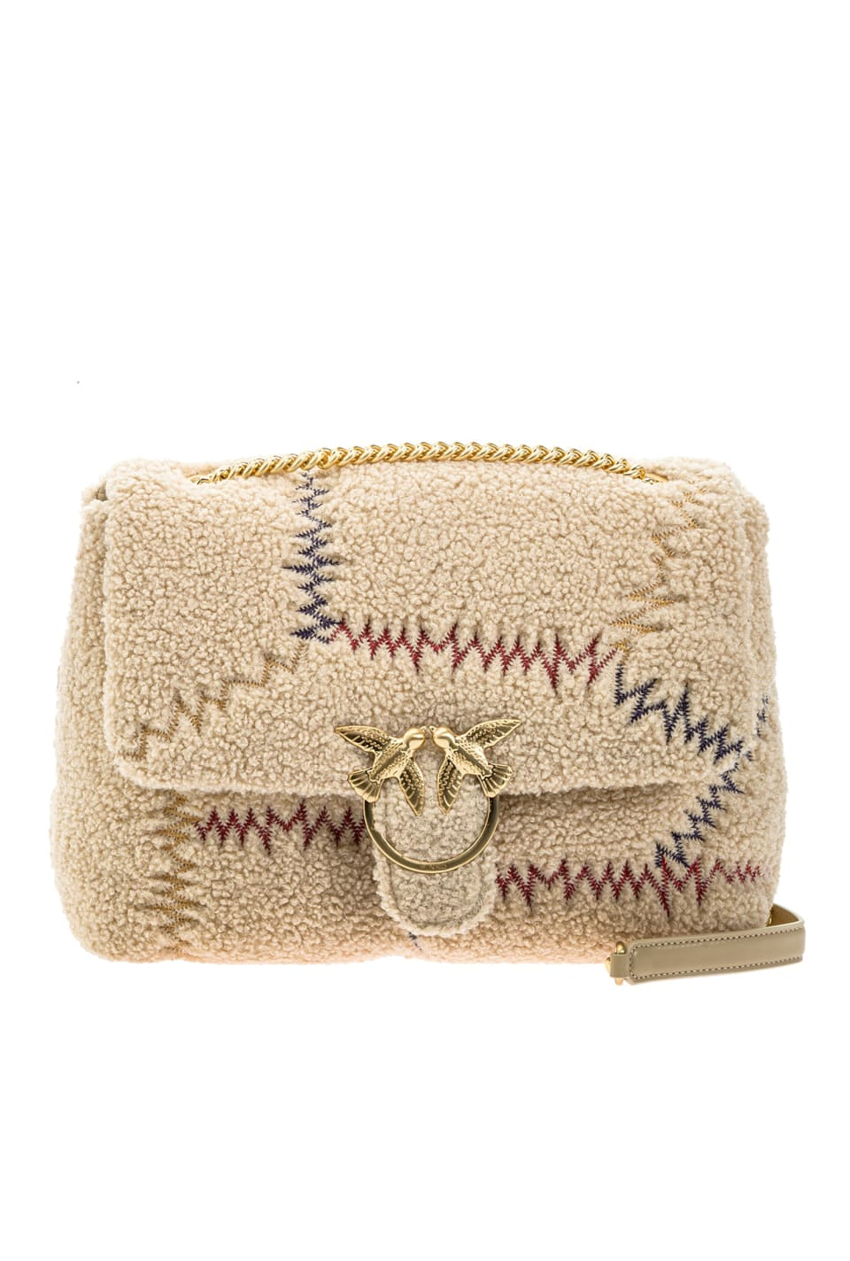 Big Love Bag Puff Furry in faux fur with embroidery - Pinko