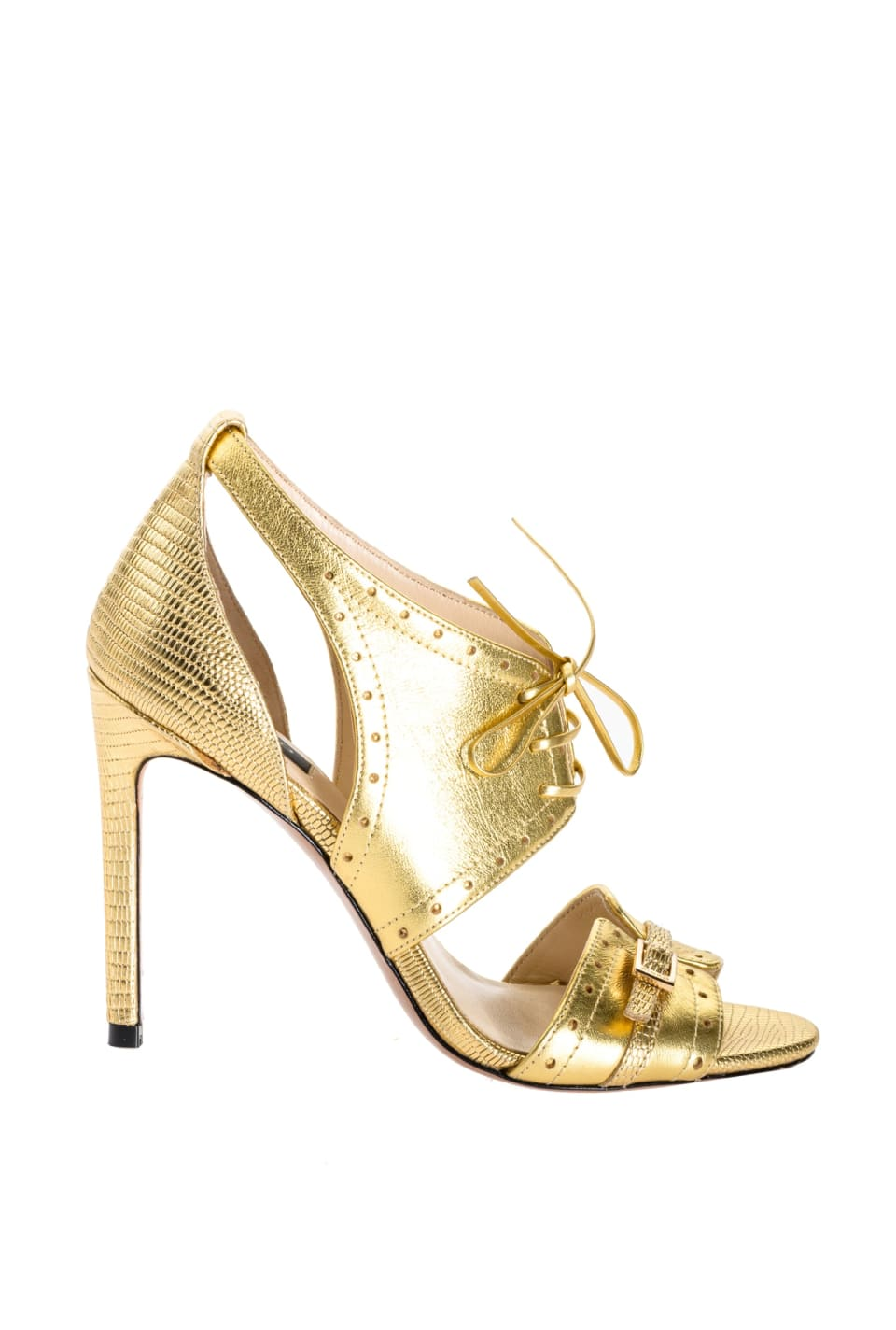 Sandals in gold laminated leather