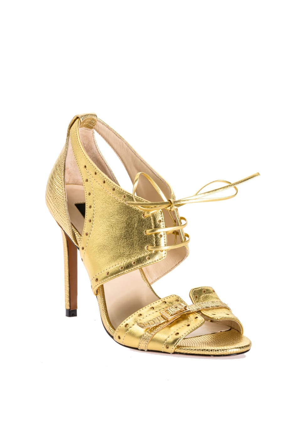 Sandals in gold laminated leather - Pinko