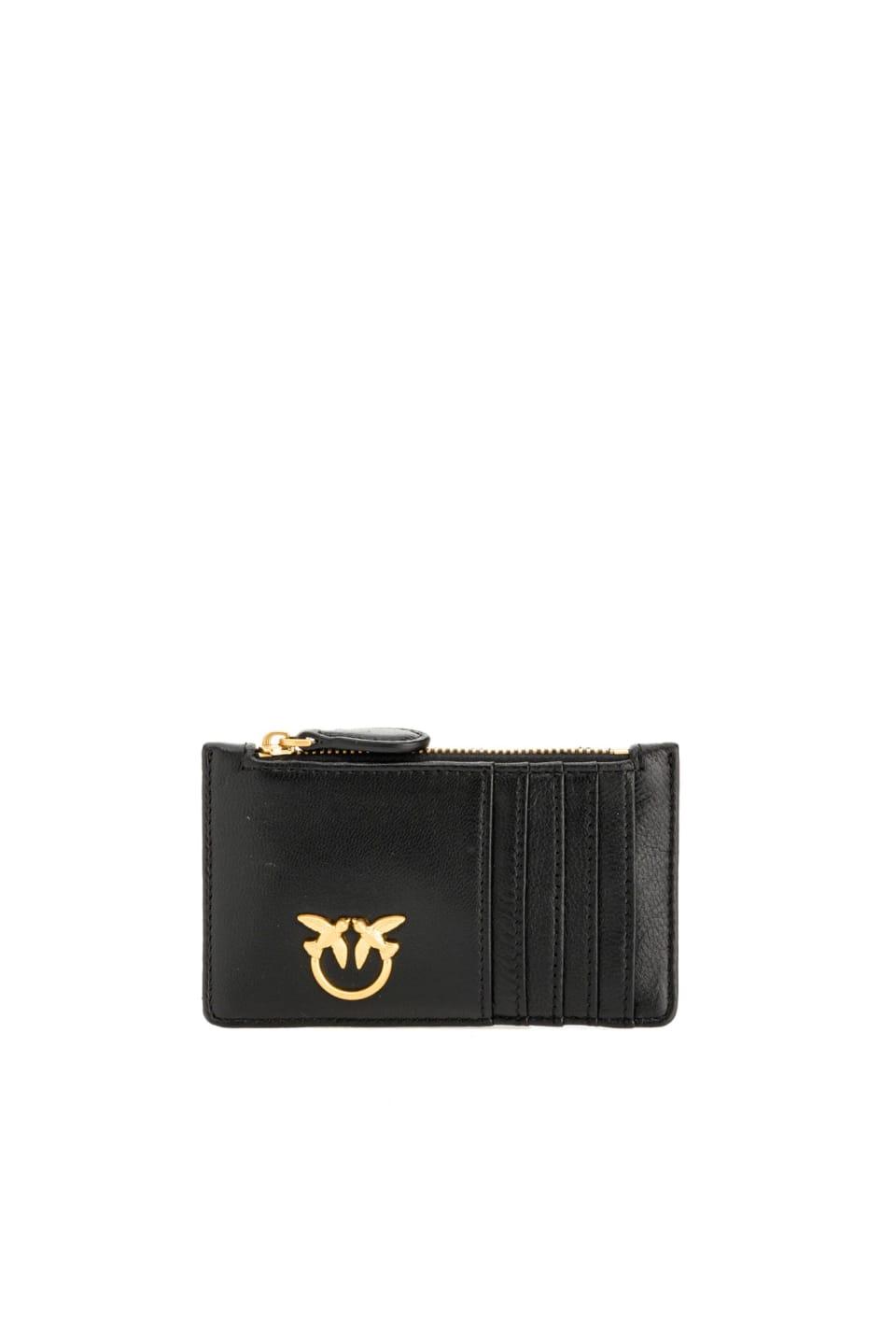 Porta carte di credito in nappa con zip - Pinko