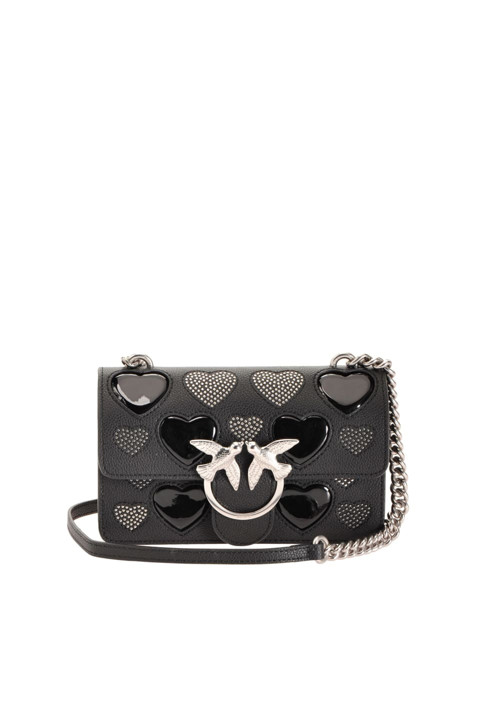 Mini Love Bag Icon Studded Heart de piel - Pinko
