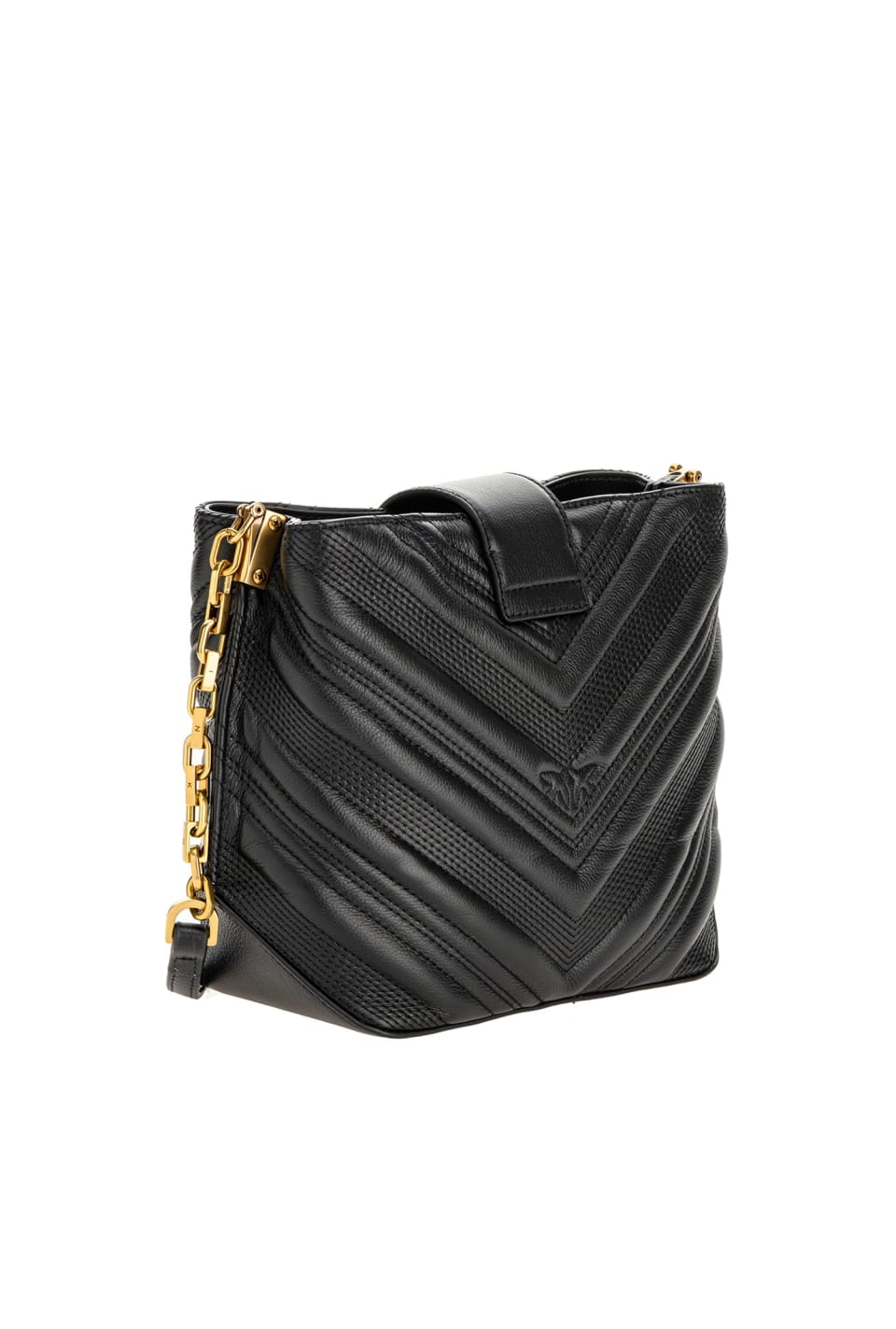 Bucket Logo Bag Chevron in quilted leather - Pinko