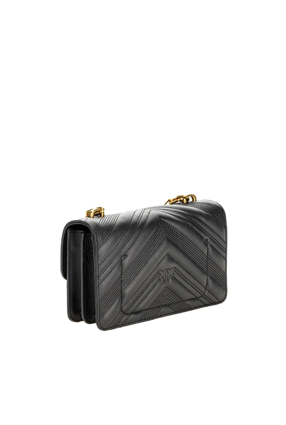 Mini Logo Bag Icon Chevron in leather - Pinko