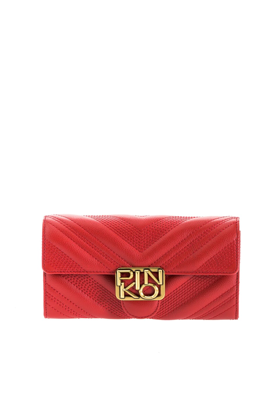 Leather Logo Wallet Chevron with shoulder strap - Pinko