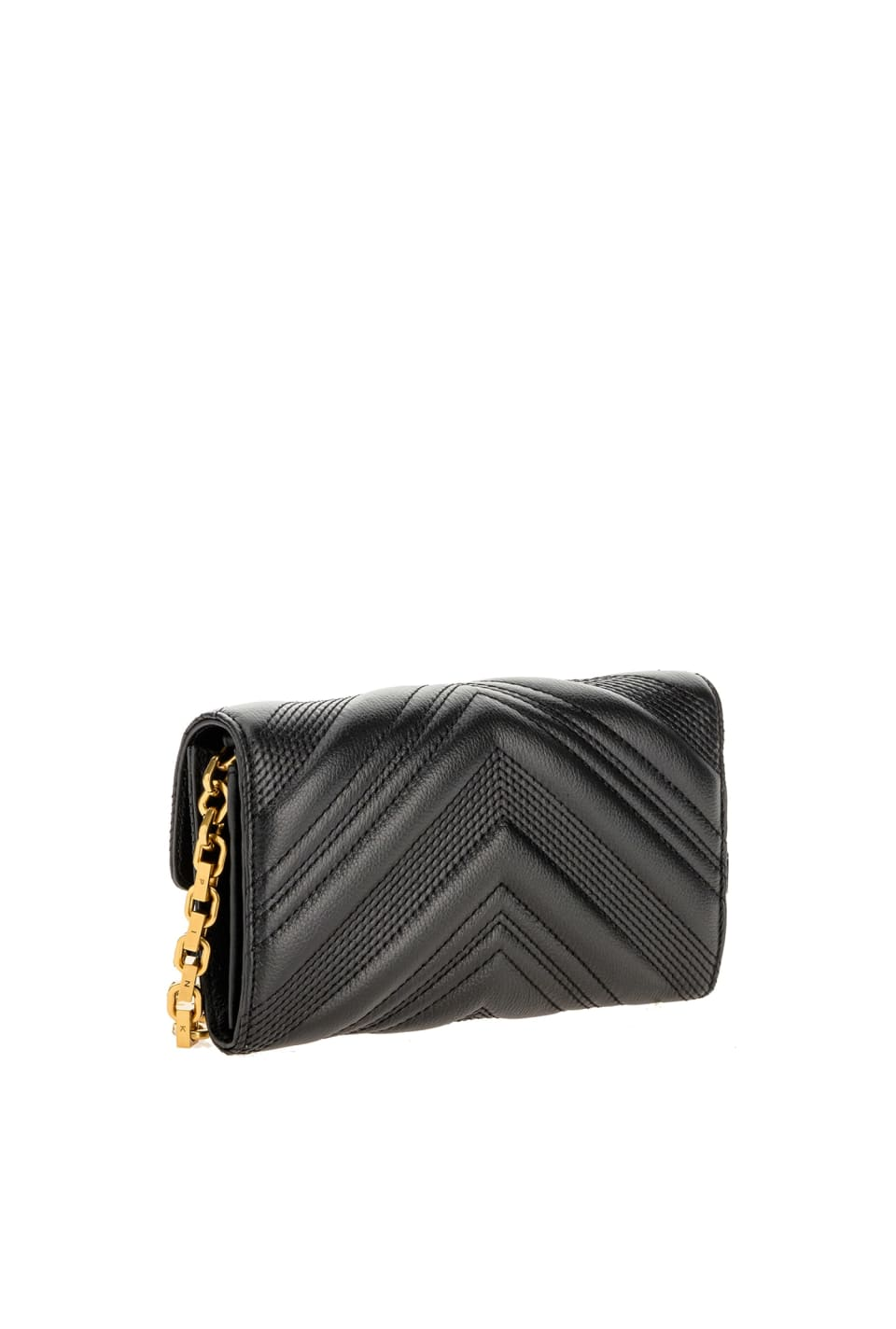 Leather Logo Wallet Chevron with shoulder strap