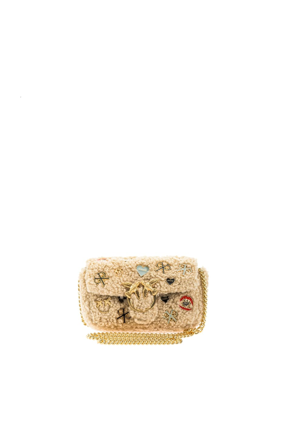 Tiny Love Bag Furry in faux fur with pins - Pinko