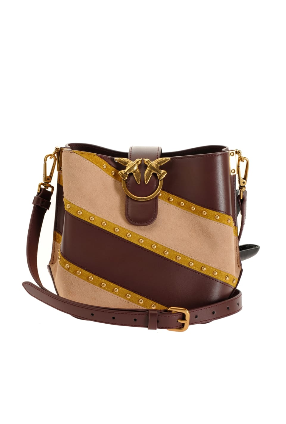 Bucket Love Bag Woodstock in leather, suede and studs - Pinko