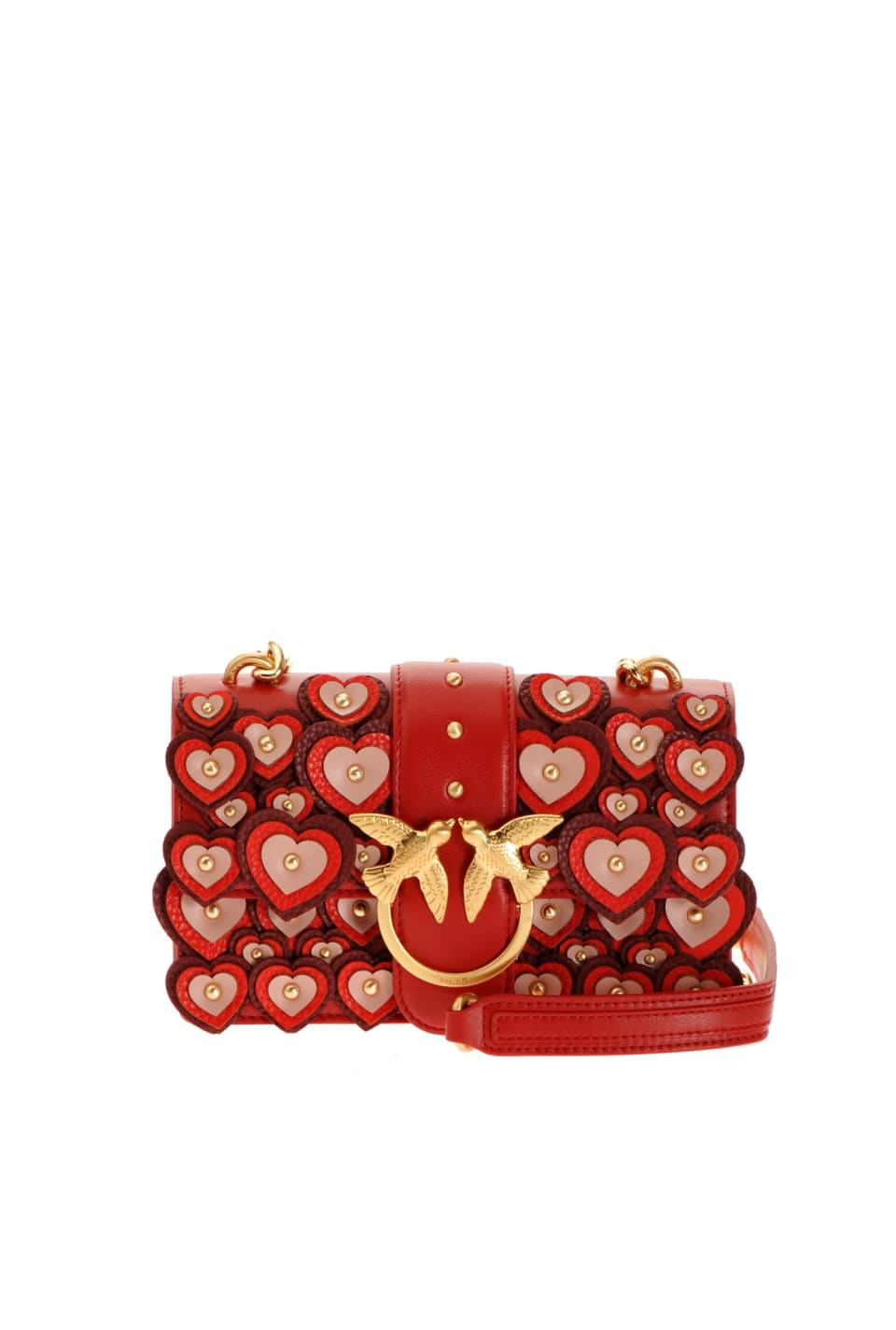 Mini Love Bag Full Love with appliquéd hearts - Pinko