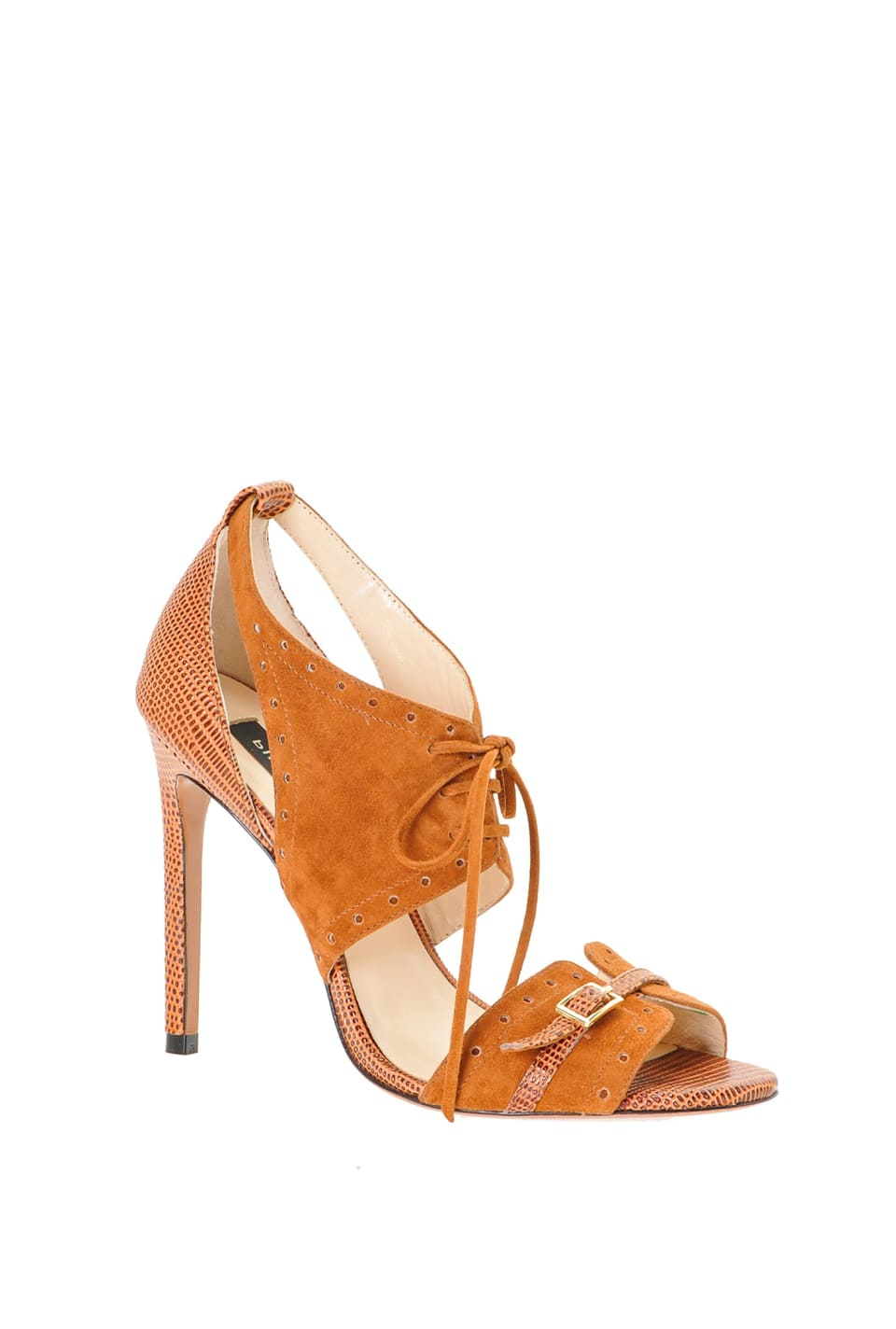 Sandals in suede and lizard-print leather - Pinko