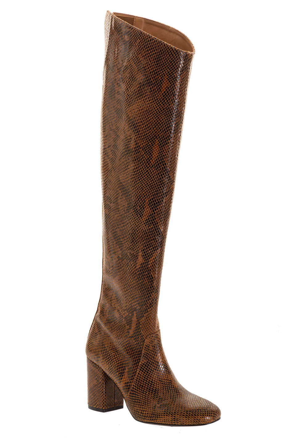 Python-print leather cuissard boots - Pinko