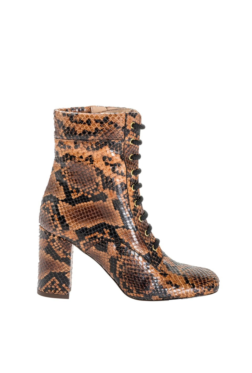 Python-print leather ankle boots - Pinko