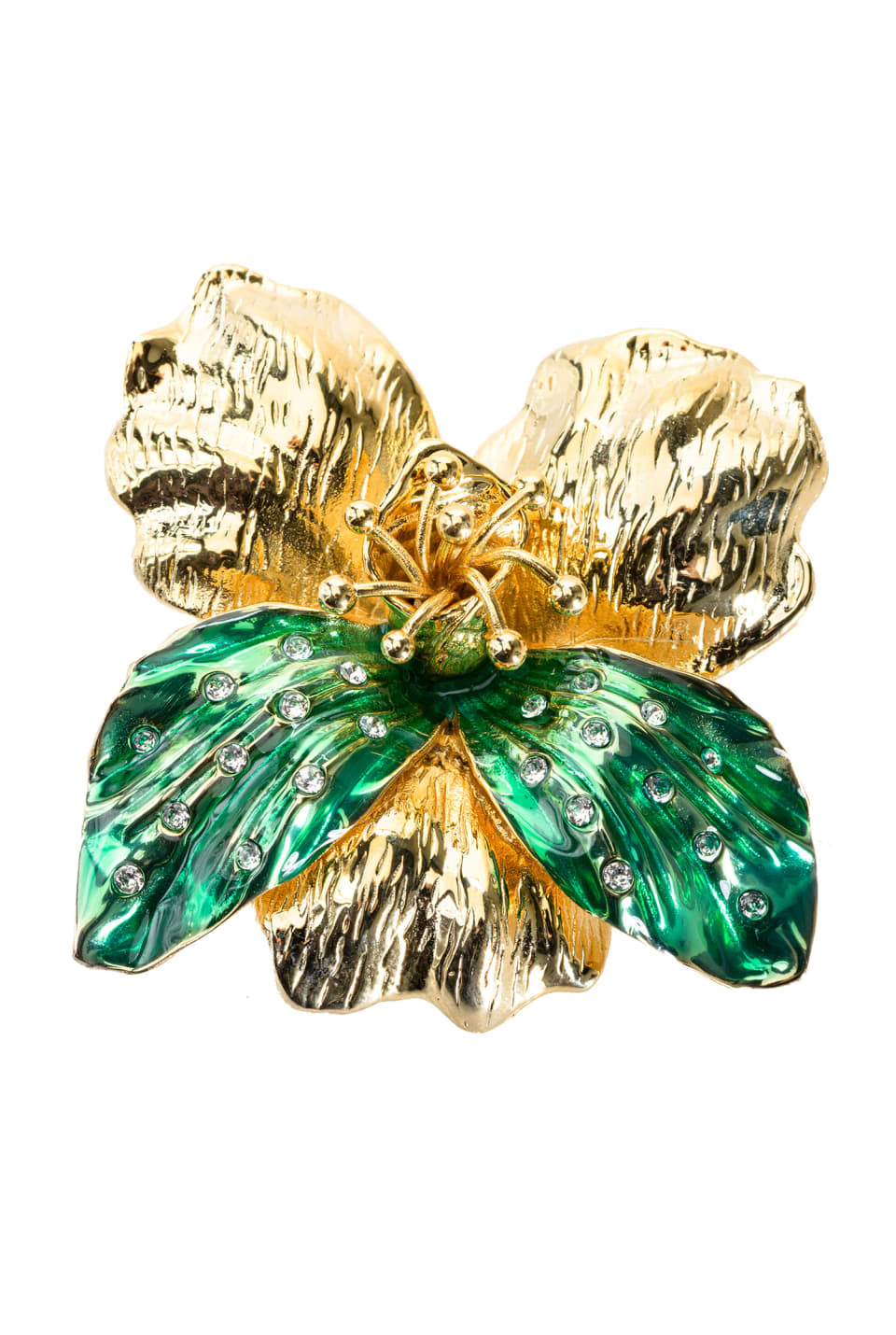 Enamelled orchid brooch with crystals