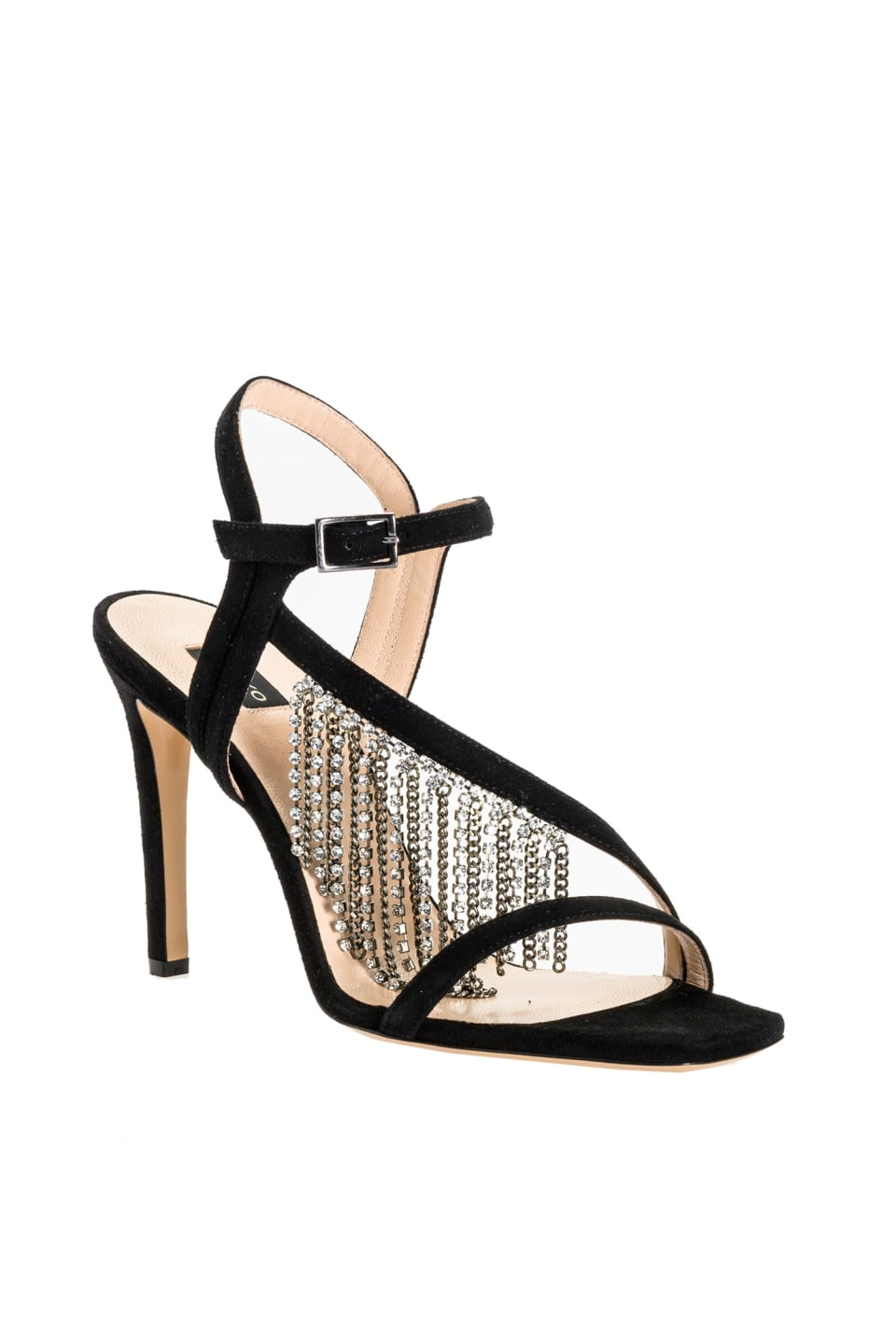 Sandals with cascade of rhinestones