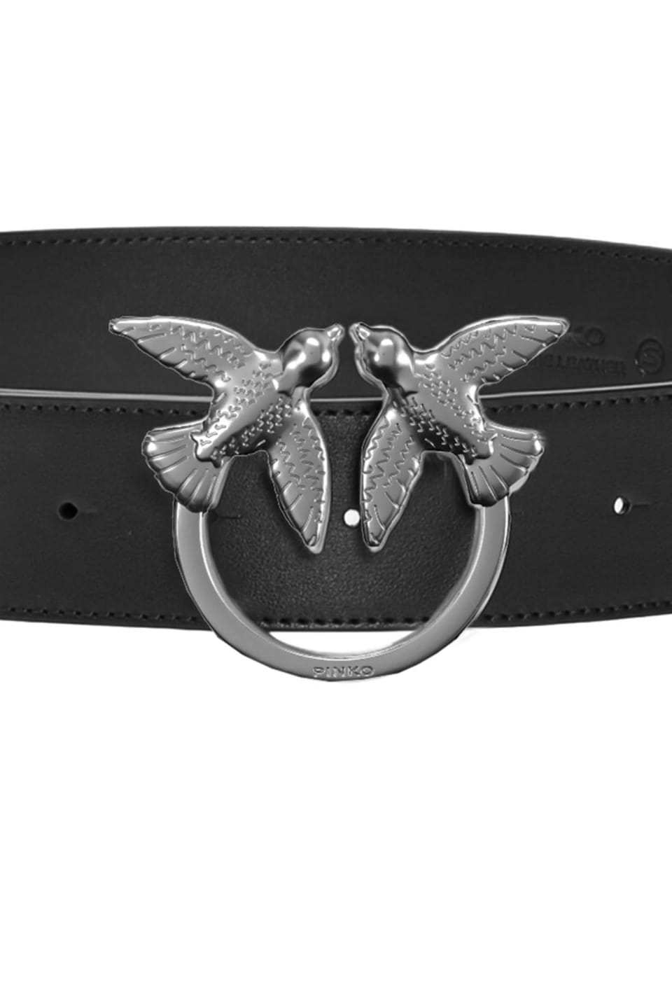 Leather belt with Love Birds buckle - Pinko