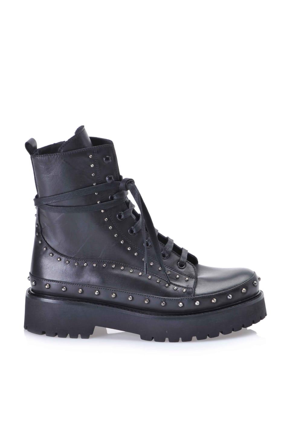 铆钉装饰皮革厚底水陆两栖鞋 - Pinko