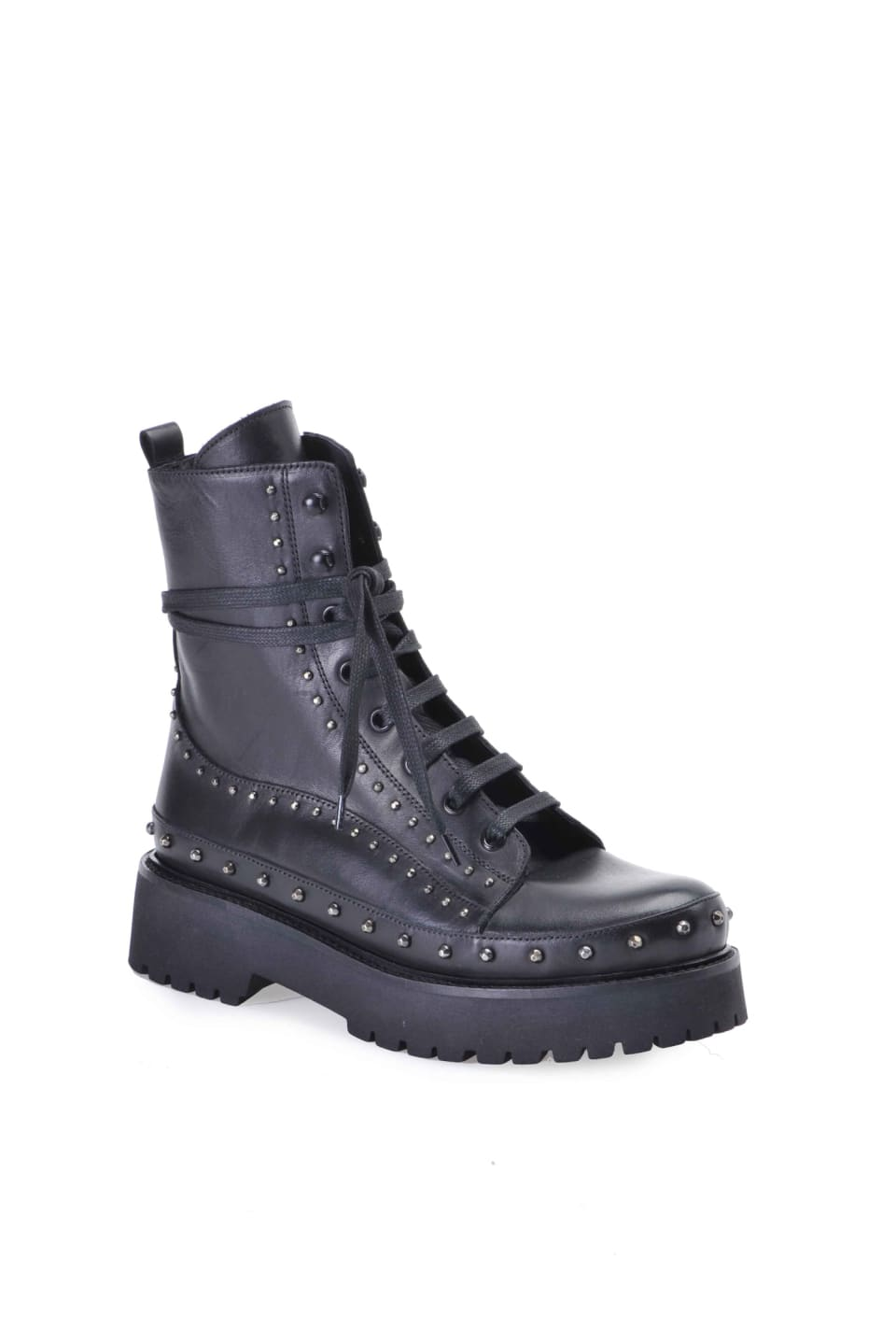 Leather and studs platform combat boots - Pinko