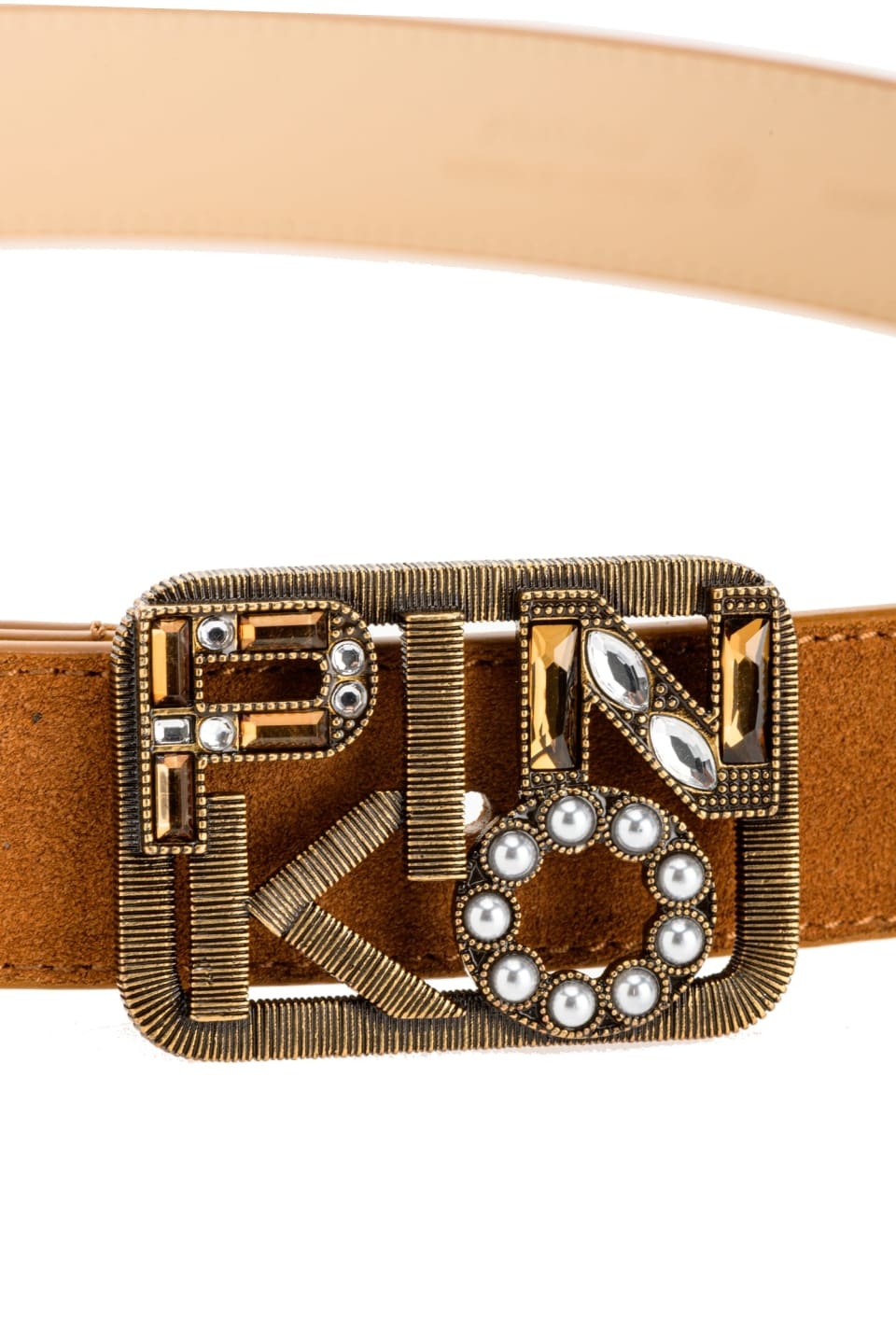 Narrow belt with jewel Logo buckle - Pinko