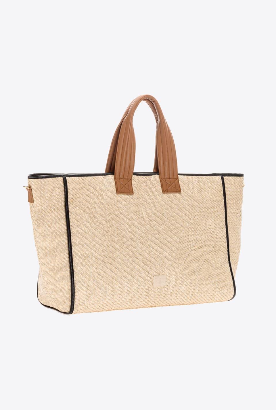 刺绣酒椰叶纤维大号购物包 - Pinko