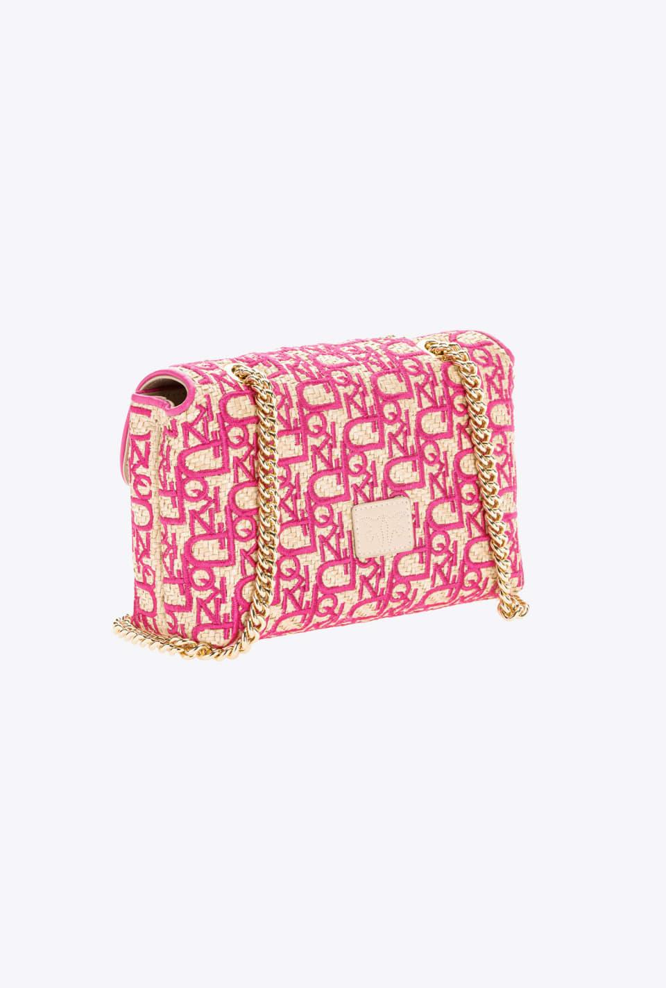 Mini Love Bag Puff Soft Rafia embroidered - Pinko