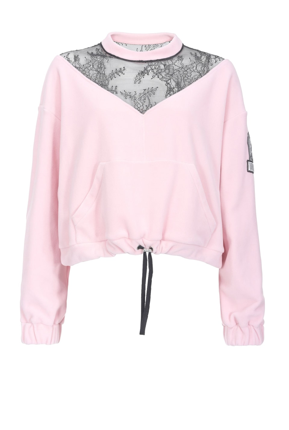 Cropped fleece and lace sweatshirt