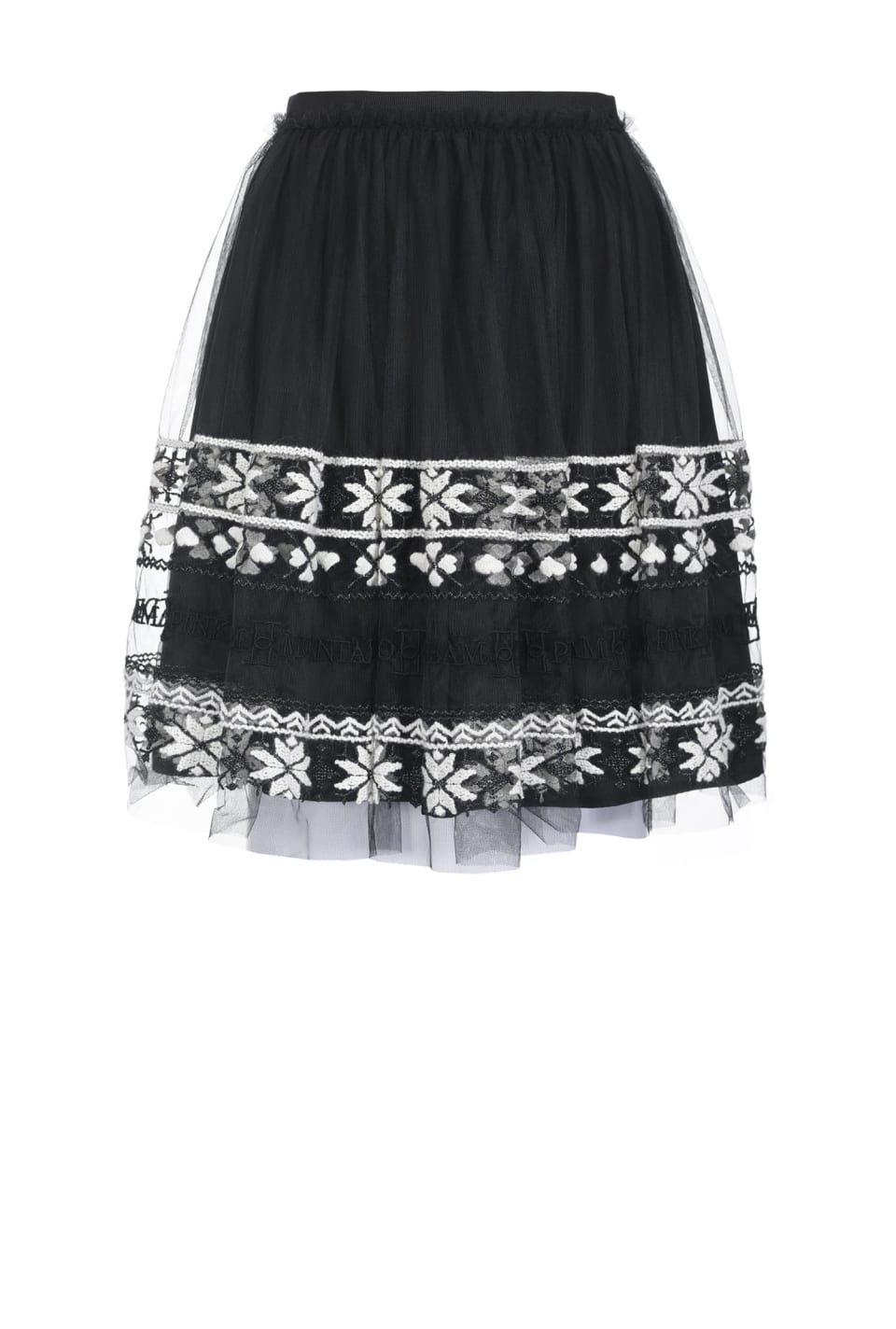 Embroidered tulle mini skirt