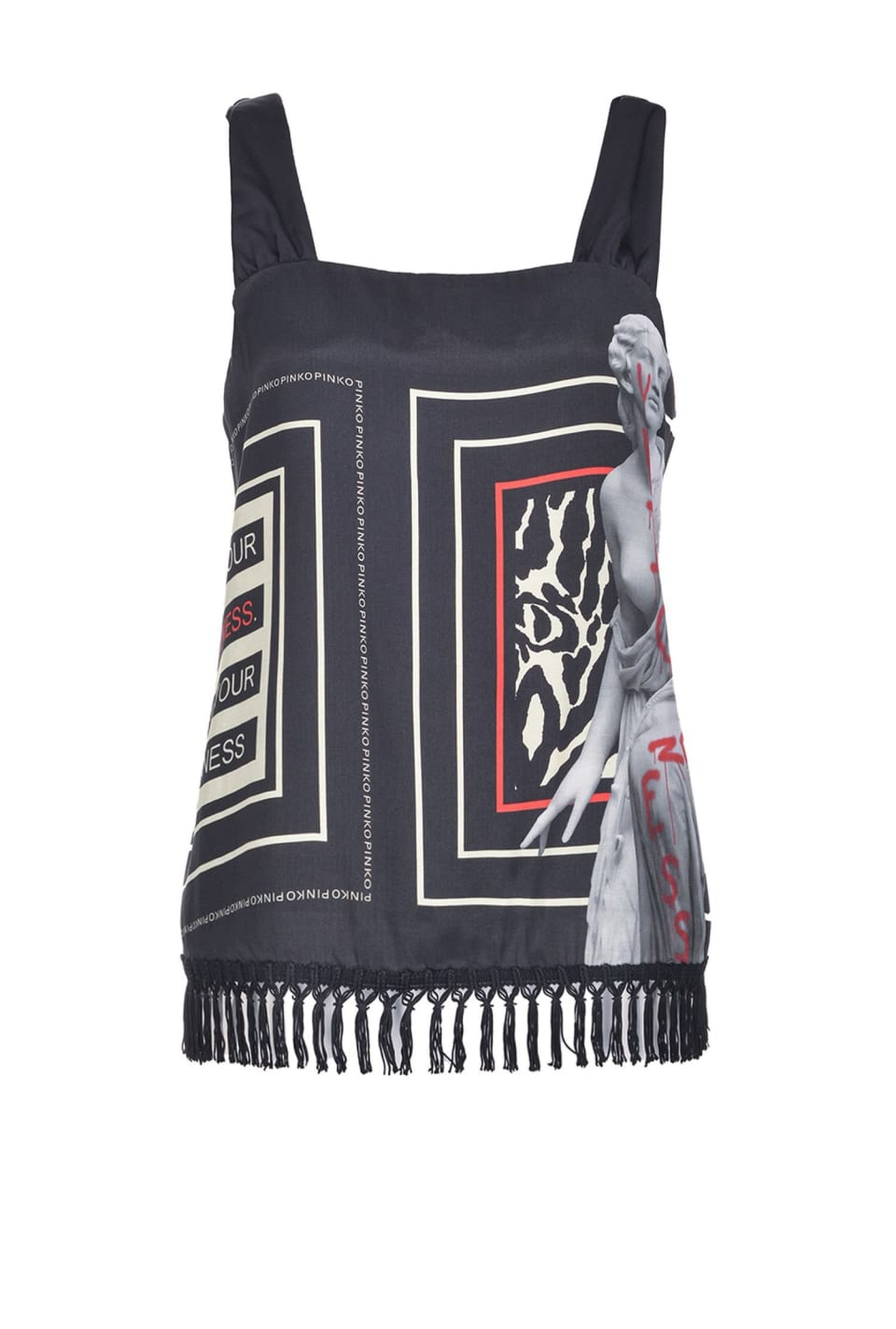 Scarf-print top with fringes