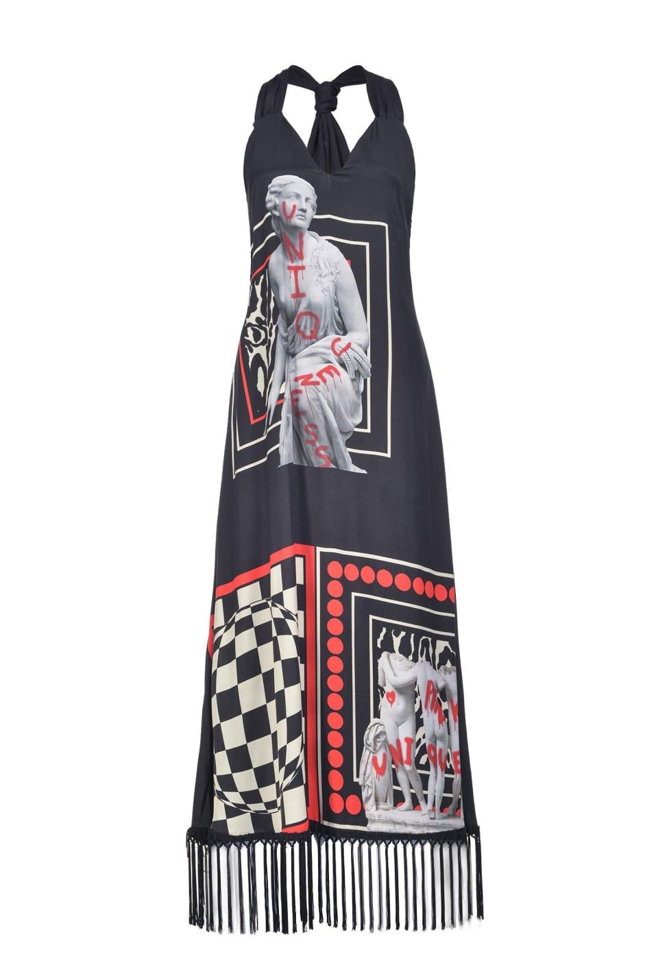 流苏装饰薄绸印花长款连衣裙