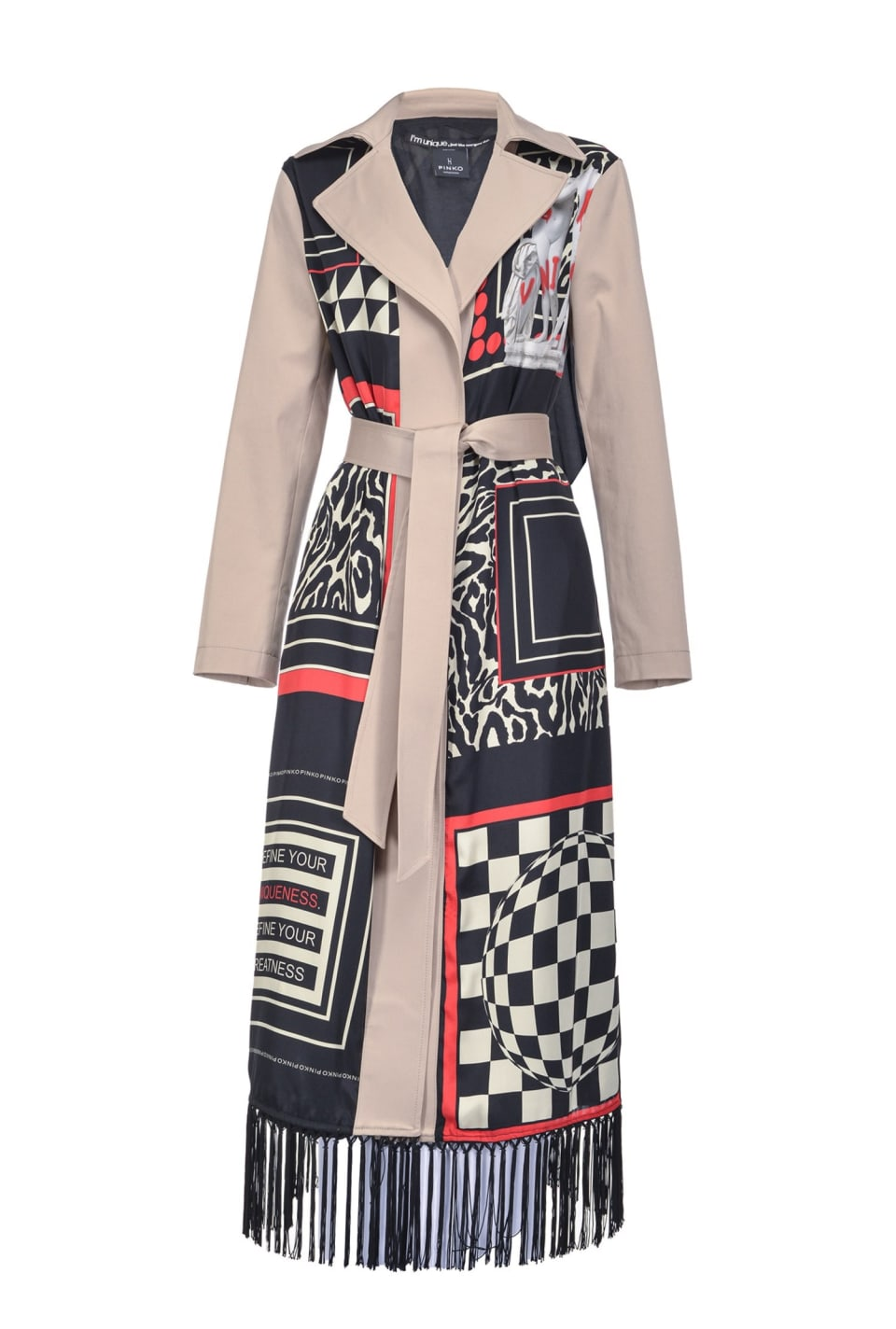 Scarf-print trench coat with fringes