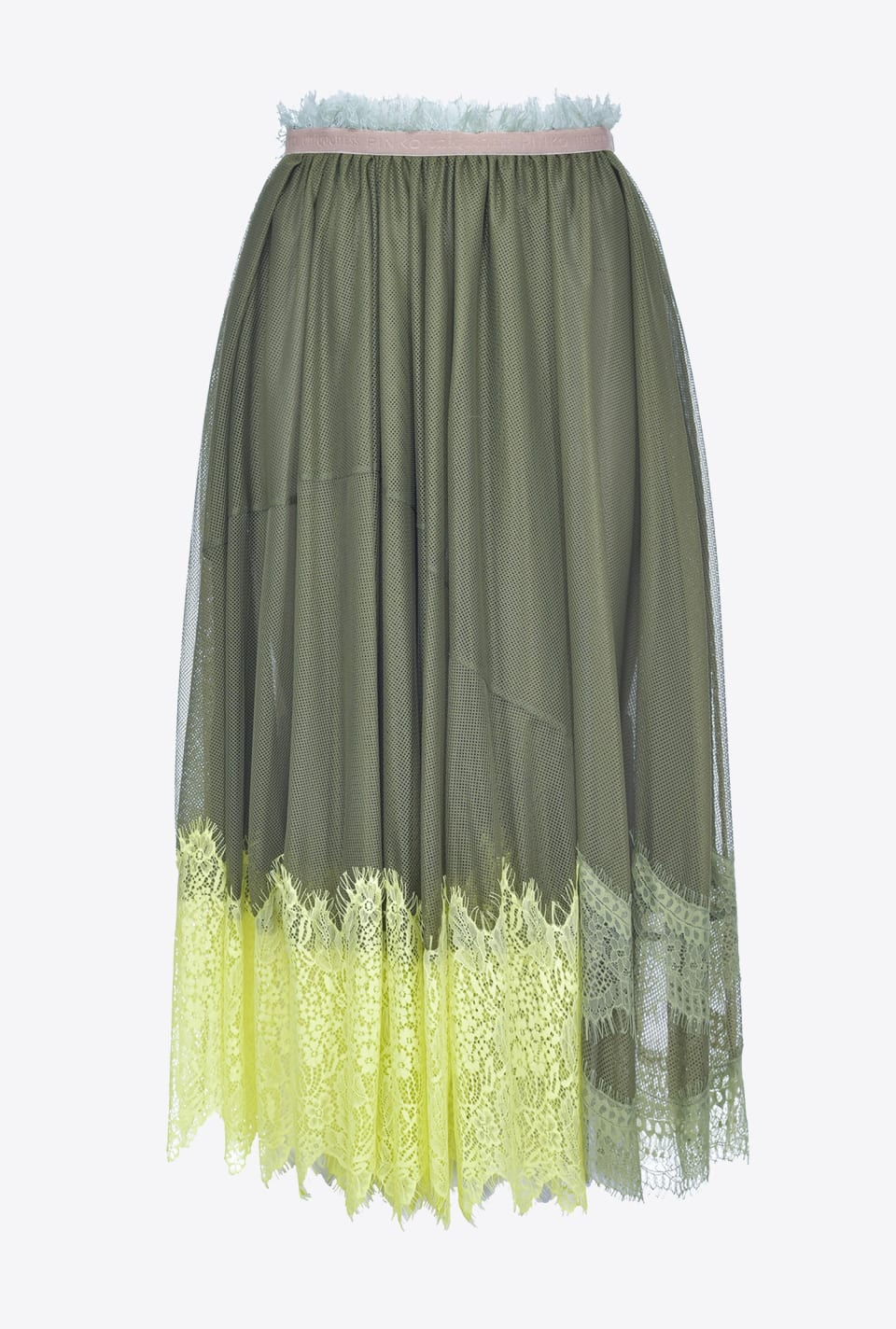 Midi skirt in mesh and lace - Pinko