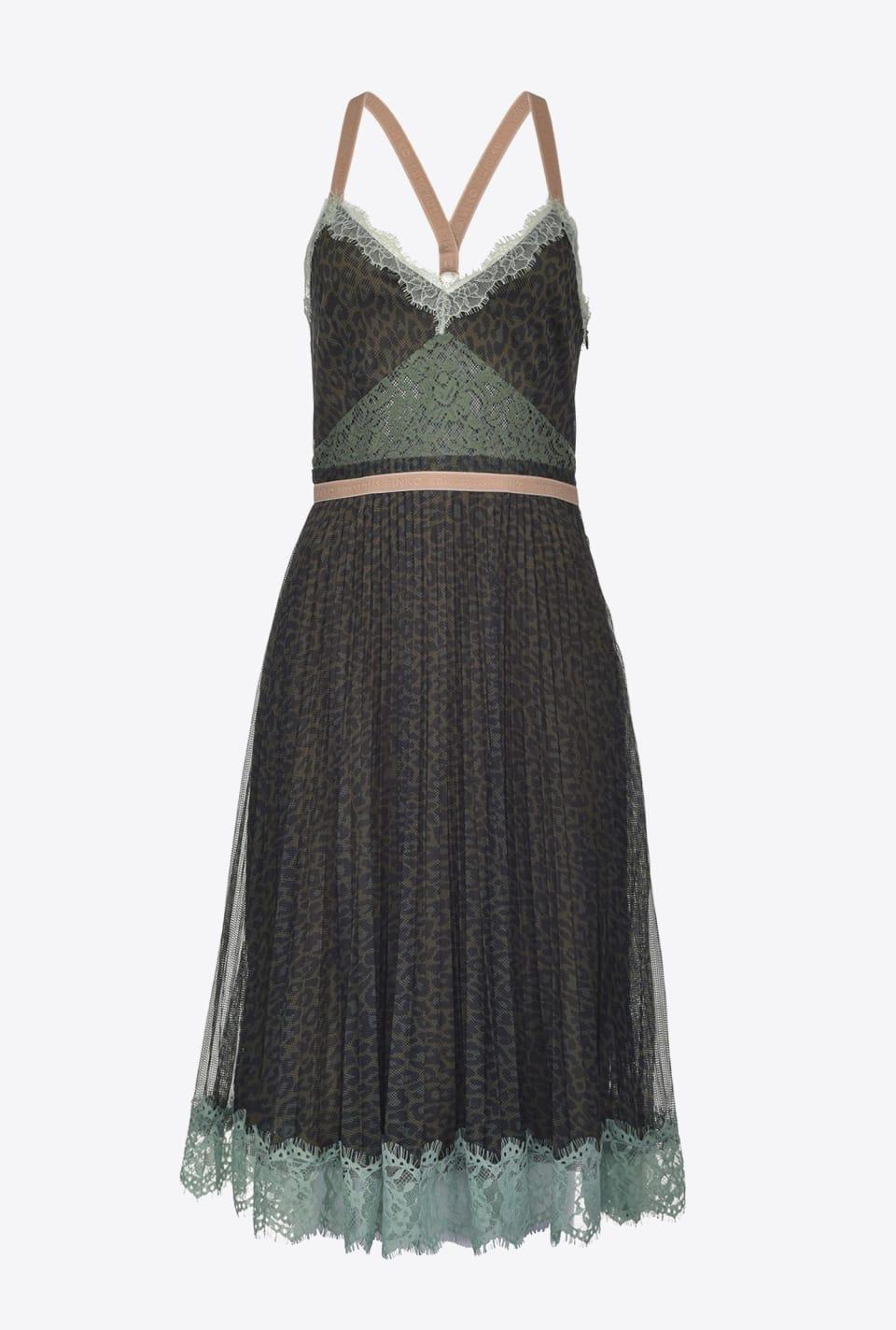 Mini dress in leopard-print mesh - Pinko
