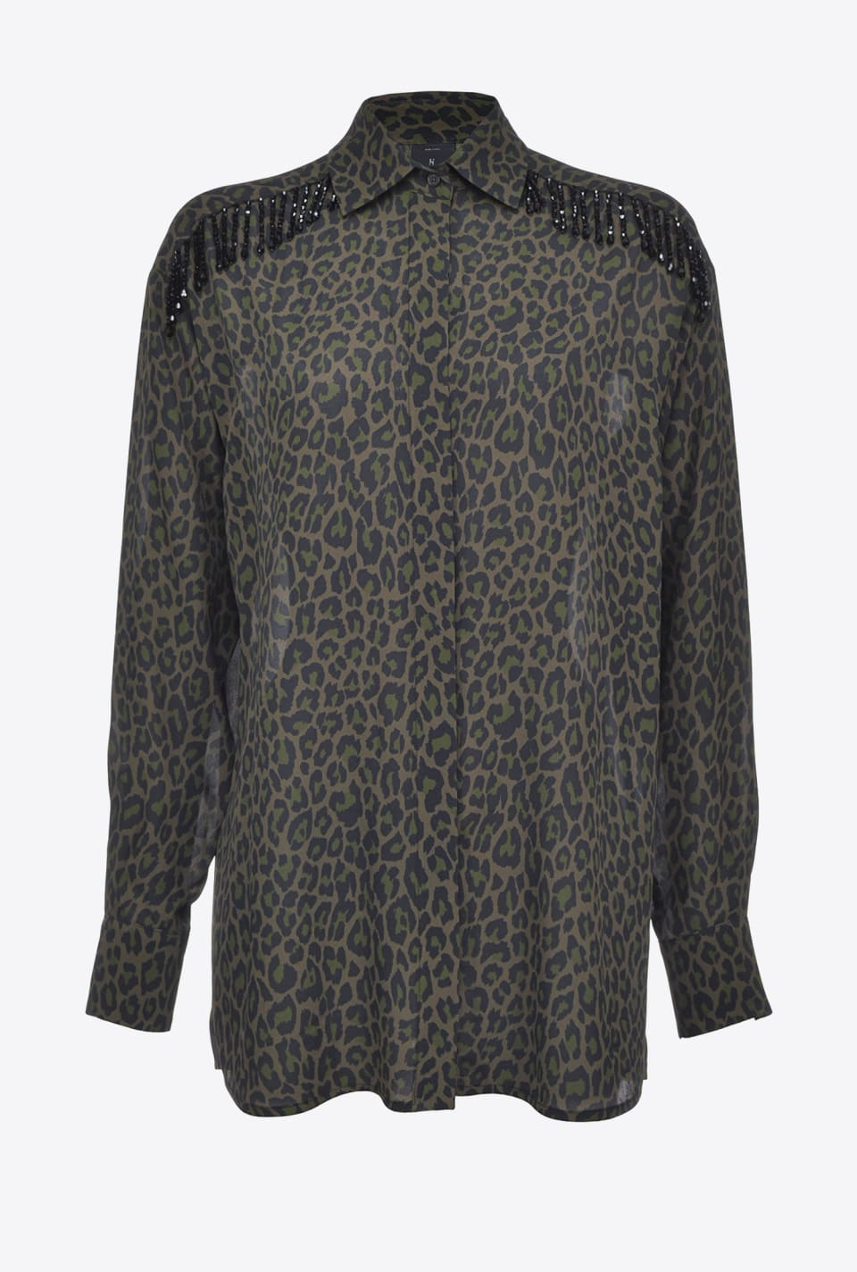 Leopard-print shirt with beads - Pinko