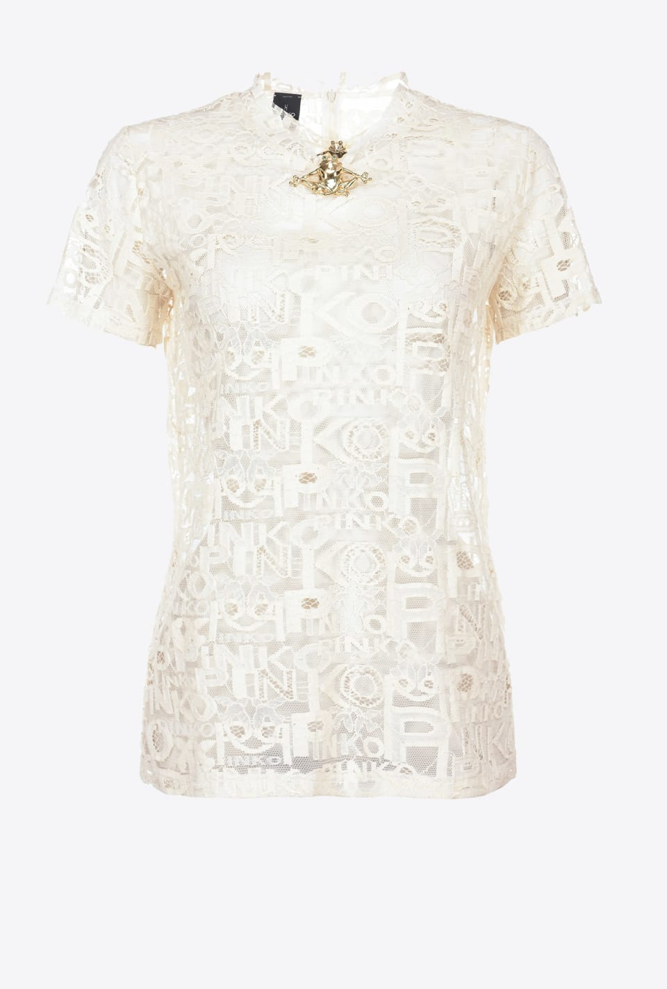 Top in logoed lace with frog brooch - Pinko