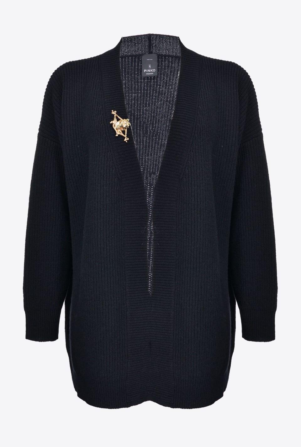 Rib knit cardigan with frog brooch - Pinko