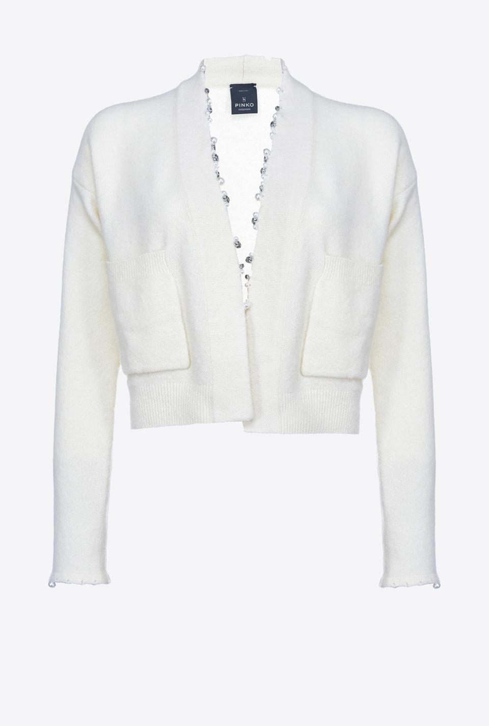 珍珠装饰短款开襟衫 - Pinko