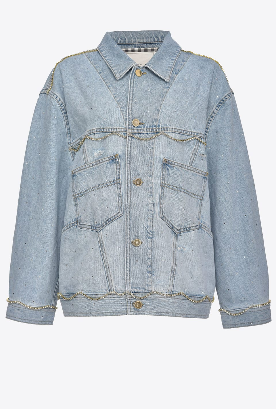 Denim jacket with rhinestones - Pinko