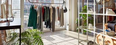 Designer clothing and accessories in a bright and airy converted garage