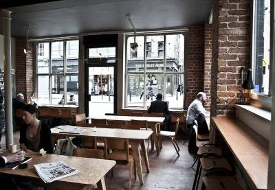 It's all about the exposed brick at Fix Coffee