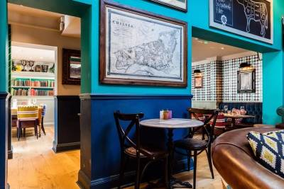 Quirky and colourful decor at this gastropub