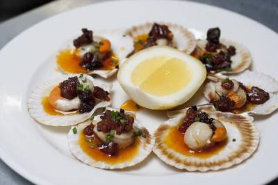 Scallops and Chorizo at this unassuming Soho bistro